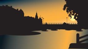 Bridge silhouette in sunset Stock Image
