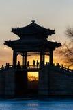 Bridge silhouette under the sunset Stock Photos
