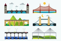 Bridge silhouette vector illustration set Royalty Free Stock Image
