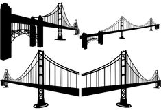 The Bridge Silhouettes Vector 07 Stock Photos