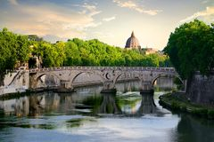 Bridge Sisto in Rome. View on Bridge Sisto and river Tiber in Rome, Italy Royalty Free Stock Photography