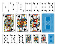 Bridge size Club playing cards plus reverse. The reverse of the deck features a lovingly crafted pattern with interwoven suit symbols. Even the font for the Stock Image