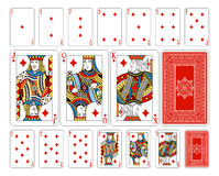 Bridge size Diamond playing cards plus reverse. The reverse of the deck features a lovingly crafted pattern with interwoven suit symbols. Even the font for the Stock Photos