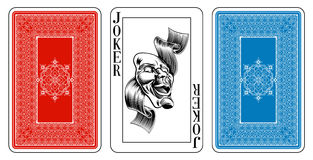 Bridge size Joker playing card plus reverse. The joker and ace of spades playing cards feature new designs in a classic style with the joker a theatre comedy Stock Images