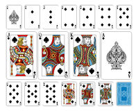 Bridge size Spade playing cards plus reverse. The reverse of the deck features a lovingly crafted pattern with interwoven suit symbols. Even the font for the Stock Images