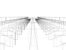 Bridge sketch. Vector. Rendering of 3d. Wire-frame style. The layers of visible and invisible lines are separated Royalty Free Stock Images