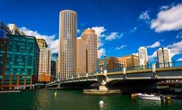 Bridge and the skyline in Boston, Massachusetts. Stock Photo