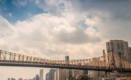 Bridge and skyline of Manhattan royalty free stock photo