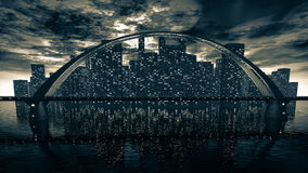 Bridge skyline near night city Stock Photos