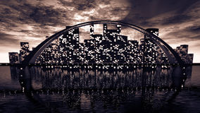 Bridge skyline near night city Royalty Free Stock Photos