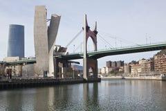 Bridge, skyscraper and  Guggenheim museum in Bilb Stock Photo