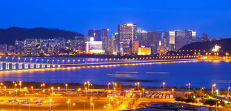 Bridge and skyscraper Macao, Asia. Macau cityscape of bridge and skyscraper Macao, Asia Royalty Free Stock Images