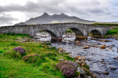 Bridge on Sligachan with Cuillins Hills in the background, Scotl Stock Photo