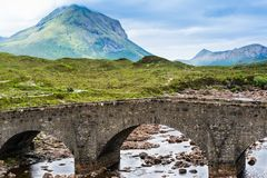 Bridge at Sligachan in Scotland Stock Photos