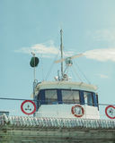 Bridge of a small ferry in Europe Royalty Free Stock Image
