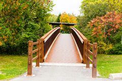 Bridge. A small steel bridge cross a creek in forest royalty free stock images