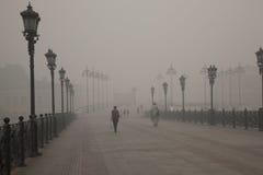 Bridge in Smoke in Moscow Stock Image