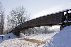 A bridge in the snow Stock Photo