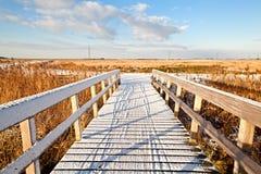 Bridge in snow Stock Photo