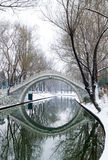 Bridge in snow Stock Photo
