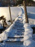 Bridge of snow. Bridge over river ander snow in caucasus mountains stock photos