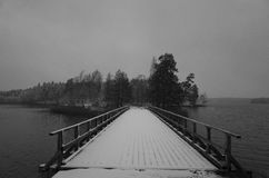 Bridge With Snow In Black And White Royalty Free Stock Photos