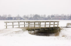 Bridge. In a snow landscape. Akersloot The Netherlands Stock Photography