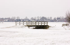 Bridge. In a snow landscape. Akersloot The Netherlands Royalty Free Stock Images
