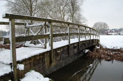 Bridge in snow. Bridge over the River Itchen, Winchester Stock Photos