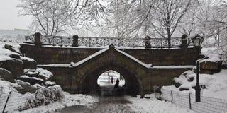 Bridge in snow storm Stock Image