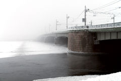 Bridge and snowfall Royalty Free Stock Photo