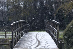 Bridge in a snowy landscape Stock Image