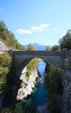 Bridge on the Soca river, Slovenia Stock Photo