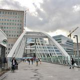 The bridge at Solna station in Arenastaden. Mall of Scandinavia is a mall located next to the Friends Arena, Arena City in Solna. Mall of Scandinavia is Sweden's stock photo