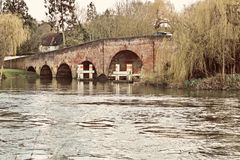 Bridge in Sonning Village. Nice old brick bridge in Sonning. Outdoor concept. Reading area royalty free stock image
