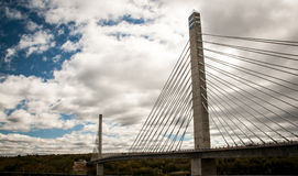 Bridge span. Wire bridge span over a river in maine royalty free stock image