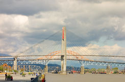 A bridge spanning the fraser river at vancouver, british columbia Stock Images