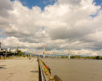 A bridge spanning the fraser river at vancouver, british columbia Stock Photography