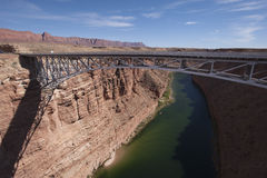 Bridge spanning river Colorado River Gorge. Stock Photo