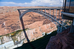 Bridge spans the the Colorado at Glen Canyon Dam Royalty Free Stock Photography