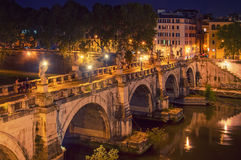 Bridge St Angel Rome Tiber Stock Photo
