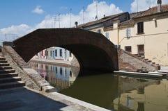 bridge st för den comacchioemilia italy peter romagnaen Fotografering för Bildbyråer