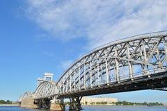 Bridge in St. Peterburg. View of the railway bridge , St. Peterburg , Russia Royalty Free Stock Photo