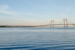The bridge in St. Petersburg. Beautiful view of the Gulf of Finland, St. Petersburg, Russia, big river view. Krestovsky royalty free stock photography