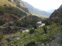 Bridge at the start of the Inca Trail. A view from the train on the IncaRail headed toward Machu Picchu royalty free stock images