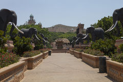Bridge with statues of elephants,in Sun City, South Africa Royalty Free Stock Photos