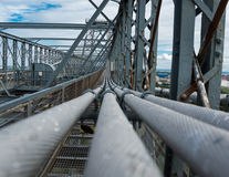 Bridge steel tension cables Royalty Free Stock Photos