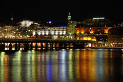 Bridge in Stockholm. Night. Sweden Royalty Free Stock Photography