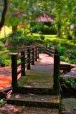 Bridge stone. Old bridge stone in the garden Stock Photo