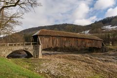 Bridge from stone and wood in Germany stock photo